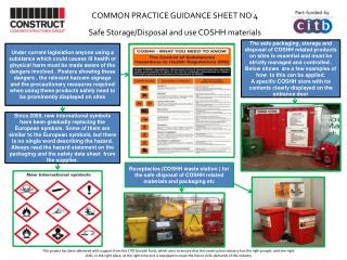 COMMON  PRACTICE  GUIDANCE  SHEET NO 4     Safe Storage/Disposal  and use COSHH  materials