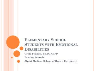 Elementary School Students with Emotional Disabilities