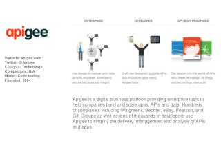 Website:  apigee Twitter: @Apigee Category :  Technology Competitors : N/A Model: Code testing