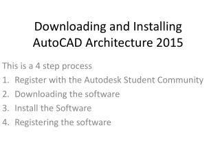 Downloading and Installing  AutoCAD Architecture 2015