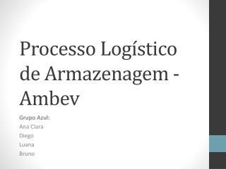 Processo Logístico de Armazenagem - Ambev