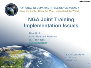 NGA Joint Training Implementation Issues