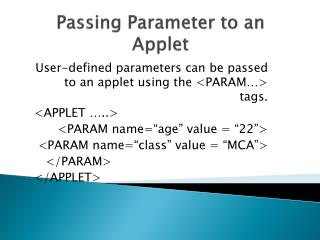 Passing Parameter to an Applet