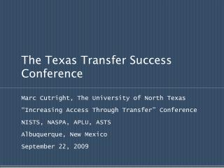 The Texas Transfer Success Conference