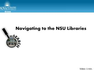 Navigating to the NSU Libraries