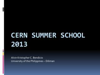 CERN summer school 2013
