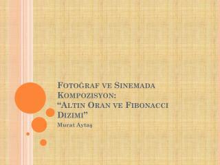 """Fotoğraf ve Sinemada Kompozisyon: """"Altın Oran ve  Fibonacci  Dizimi"""""""