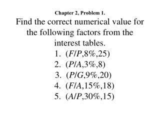 Chapter 2, Problem 1. Find the correct numerical value for the following factors from the interest tables.   1.  F