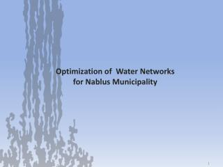 Optimization of  Water Networks  for Nablus Municipality