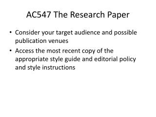 AC547 The Research Paper