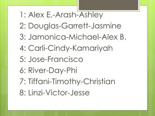 1: Alex E.- Arash -Ashley 2: Douglas-Garrett-Jasmine 3:  Jamonica -Michael-Alex B.