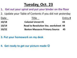Tuesday ,  Oct.  23