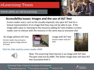A ccessibility issues: Images and the use of ALT Text