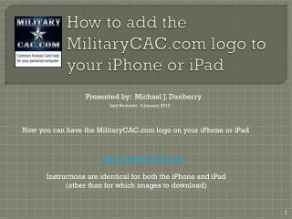 How to add the MilitaryCAC logo to your iPhone or iPad