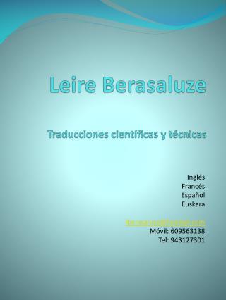 Leire Berasaluze Traducciones científicas y técnicas
