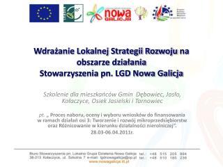 Wdrażanie Lokalnej Strategii Rozwoju na obszarze działania  Stowarzyszenia pn. LGD Nowa Galicja
