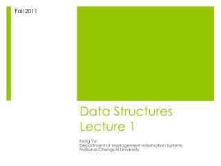 Data Structures Lecture 1