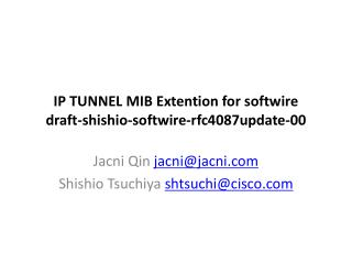 IP TUNNEL  MIB Extention  for  softwire draft- shishio - softwire - rfc4087update -00