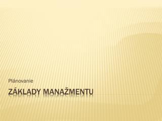 Základy manažmentu