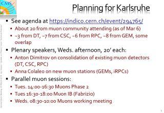Planning for Karlsruhe