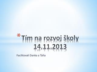 Tím na rozvoj školy  14.11.2013