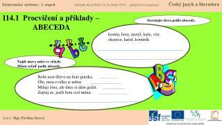 114.1  Procvičení a příklady –                 ABECEDA