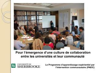 Pour l'émergence d'une culture de  collaboration  entre les universités et leur communauté