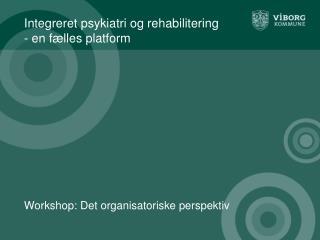 Integreret psykiatri og rehabilitering - en f�lles platform