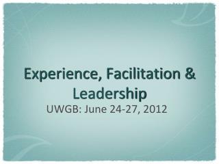 Experience, Facilitation & Leadership