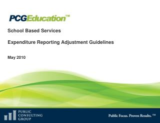 School Based Services   Expenditure Reporting Adjustment Guidelines