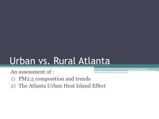 Urban vs. Rural Atlanta