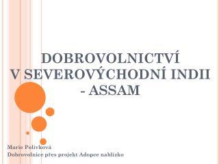 DOBROVOLNICTVÍ  V  SEVEROVÝCHODNÍ INDII - ASSAM