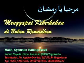 Menggapai Keberkahan di Bulan Ramadhan