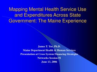 Mapping Mental Health Service Use and Expenditures Across State Government: The Maine Experience