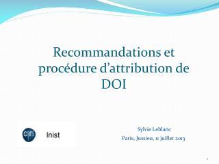 Recommandations et proc�dure d�attribution de DOI