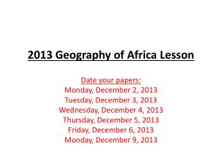 2013 Geography of Africa Lesson