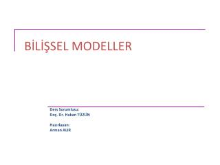 BİLİŞSEL MODELLER