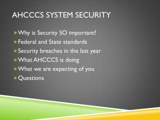 AHCCCS System Security