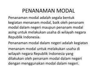 PENANAMAN MODAL