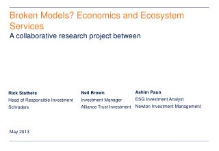 Broken Models? Economics and Ecosystem Services