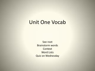 Unit One Vocab