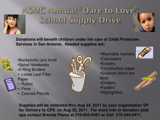 """ASMC Annual """"Dare to Love""""  School Supply Drive"""