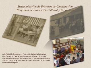 Adib Abdallah , Programa de Promoción Cultural y Recreativa