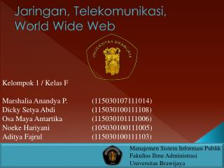 Jaringan , Telekomunikasi, World Wide Web
