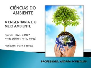 A ENGENHARIA E O MEIO AMBIENTE Período Letivo: 2010.2 Nº de créditos: 4 (60 horas)