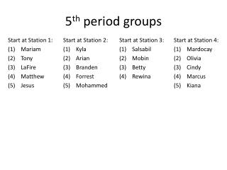 5 th  period groups