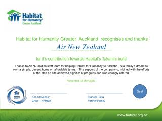 Habitat for Humanity Greater  Auckland  recognises and thanks