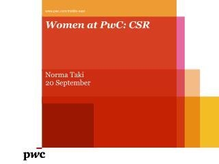 Women at PwC : CSR