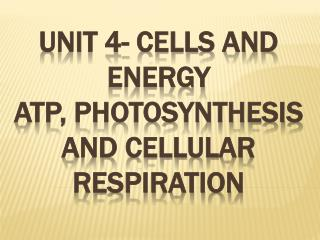 Unit 4- Cells and Energy ATP, Photosynthesis and Cellular Respiration