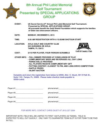 8th  Annual Phil Lebid Memorial Golf Tournament  Presented by SPECIAL APPLICATIONS GROUP